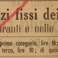 I prezzi fissi dei pasti, in «Il Resto del Carlino», 2 ottobre 1941.
