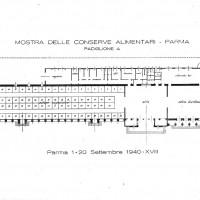 Settembre 1940. Mappa allestimento mostra delle conserve alimentari (archivio storico Fiere di Parma).