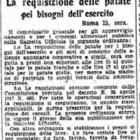 La requisizione delle patate per i bisogni dell'esercito, in «Il Resto del Carlino», 26 giugno 1917