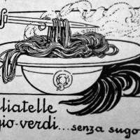 Augusto Majani, Tagliatelle grigio verdi… senza sugo, disegno propagandistico, in «XX settembre 1915, numero unico del Comitato bolognese Pro-Patria»