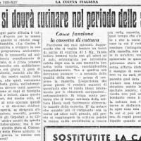 Come si dovrà cucinare in tempo di sanzioni, in «La cucina italiana», 1 dicembre 1935.
