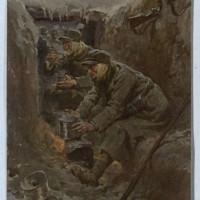Achille Beltrame, Il rancio dei soldati, cartolina, Biblioteca nazionale di Roma.