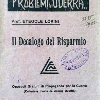 Eteocle Lorini, Il decalogo del risparmio, Venezia, 1917