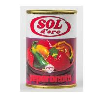 Peperonata in scatola con marchio di fantasia Sol d'Oro e logo Coop (1974)