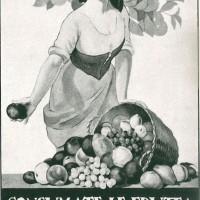 """Pubblicità Consumate la frutta d'Italia, pubblicata su """"Italia agricola"""" degli anni Trenta (""""Italia agricola"""" 1932)."""