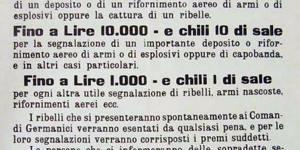 Avviso del comando supremo germanico Premi in sale per la cattura di partigiani, manifesto in in archivio dell'Istituto per la storia e le memorie del 900 Parri Emilia-Romagna.