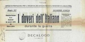 Ufficio di propaganda per la disciplina dei consumi presso il Ministero di Agricoltura, I doveri dell'italiano durante la guerra, [s.l.], 1917