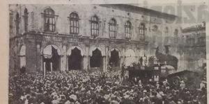 Il raccolto degli orti di guerra. Si è trebbiato in piazza, in «Il Resto del Carlino», 4 luglio 1942.