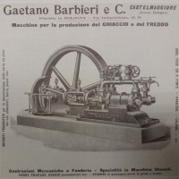 Pubblicità di macchine per il raffreddamento della ditta Gaetano Barbieri e C., inizio XX secolo