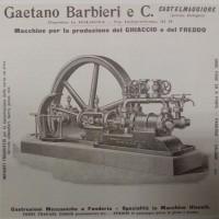 Pubblicità di macchine per il raffreddamento della ditta Gaetano Barbieri e C., inizio XX secolo