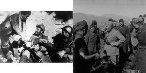 Esercito Fronte greco albanese, Benito Mussolini in un gruppo di militari assaggia il rancio nell'aprile 1941, in ACS, Partito nazionale fascista, Ufficio propaganda, Seconda guerra mondiale, busta 17 1941/04.Mussolini mentre consuma il rancio in trincea, in ACS, Mostra Rivoluzione Fascista, Servizio fotografico Album 20.