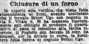 Arresto per frode in commercio. Segatura di legna per far crusca e cruschello, in «Il Resto del Carlino», 17 giugno 1917
