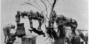 Pittori e il fronte Luigi Maria Caneva. Le casse di cottura per il rancio dei soldati in linea, in «L'Illustrazione italiana», 12 maggio 1918, n. 19, p. 376, Istituto per la storia e le memorie del '900 Parri E-R.