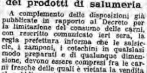 Restrizioni nella vendita dei prodotti di salumeria, in «Il Resto del Carlino», 4 gennaio 1917