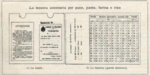 La tessera annonaria per pane, pasta, farina e riso, foto in «La vita cittadina. Bollettino di cronaca amministrativa e di statistica. Comune di Bologna», novembre 1917.